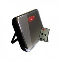 Réveil matin avec surveillance caméra cachée détecteur de mouvement effet miroir télécommandé