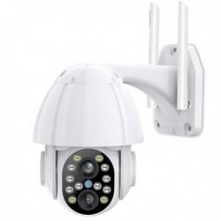 Caméra de surveillance Wifi à double objectif pour extérieur à alarme et lumières